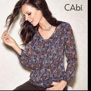 CAbi Tapestry Print Long Sleeve Blouse Top #157